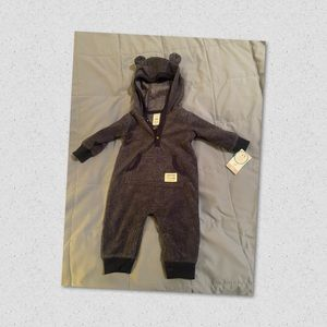 NWT Carter's Baby Boys Hooded Fleece Bear Coverall